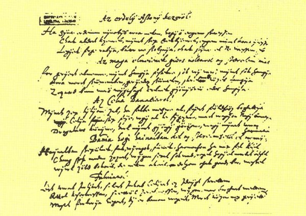 Balassi kézirata (forrás: mek.oszk.hu)