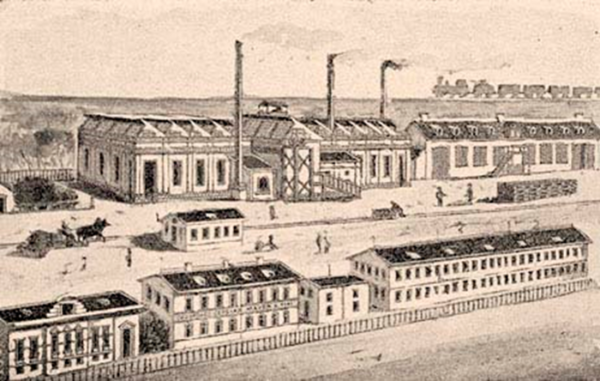 Mayer E. Fiai gépgyára Szombathelyen (a vasút mellett.) eredeti rajz után.