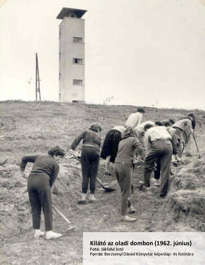Társadalmi munka a kilátónál 1962-ben (Forrás: BDK képeslap- és fotótára)