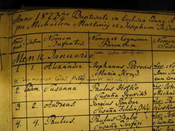 Petőfi keresztelési anyakönyvben (Forrás: kiskoros.lutheran.hu)