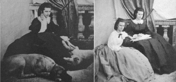 Sisi a kutyáival, valamint nővérével, Helene hercegnővel 1858. körül. (Forrás: Vienna-Photos/Pinterest, gogmsite.net)